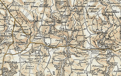 Old map of Lantewey in 1900