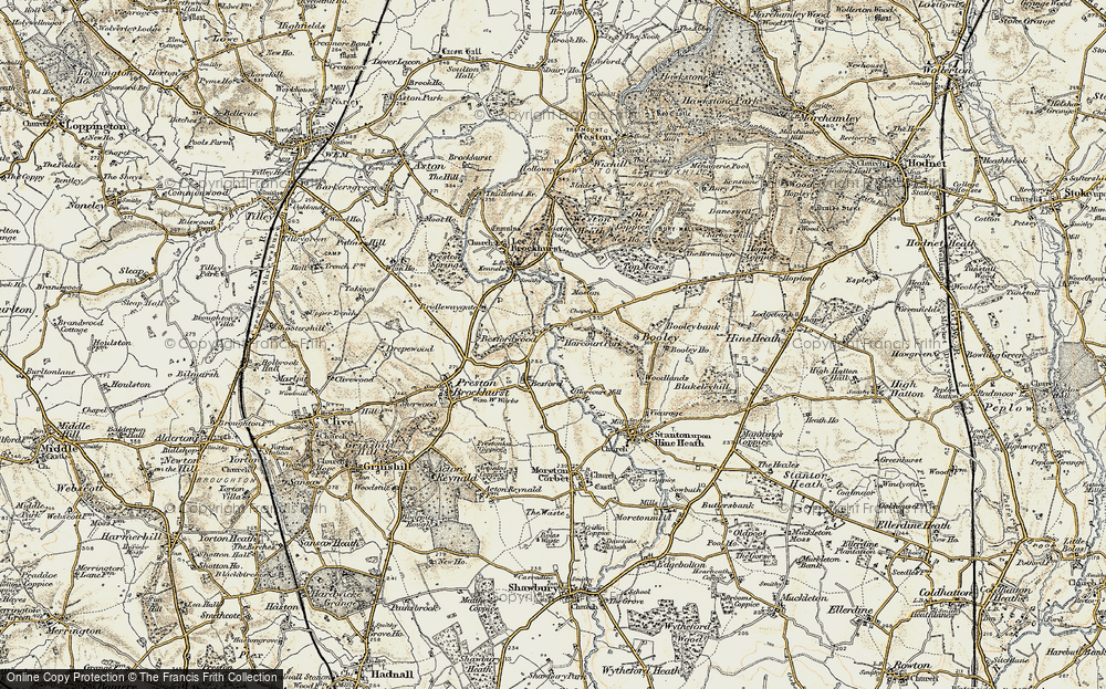 Old Map of Historic Map covering Besford Wood in 1902