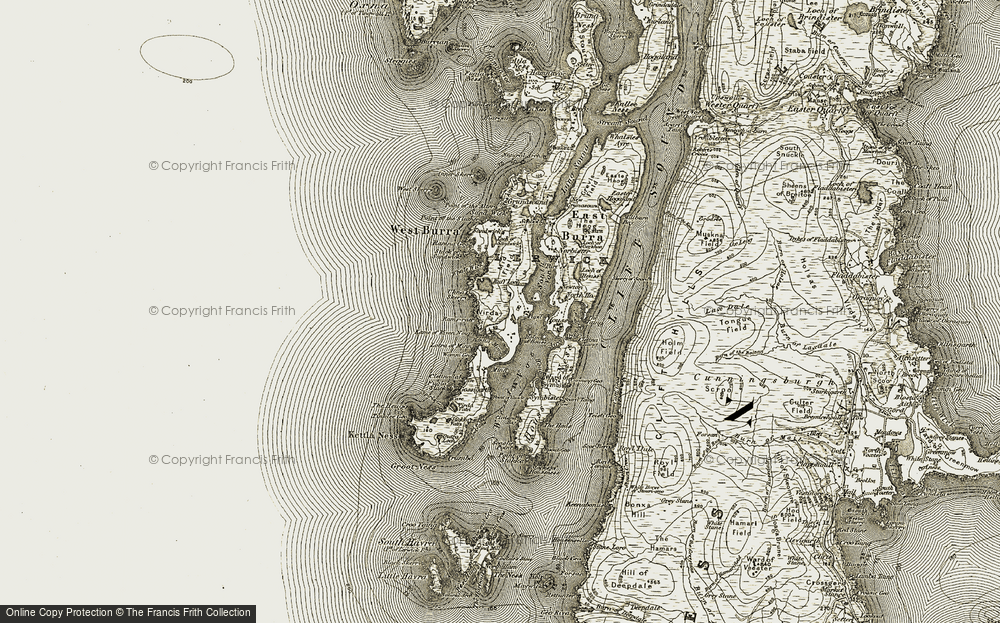 Old Map of Historic Map covering Whale Wick in 1911-1912