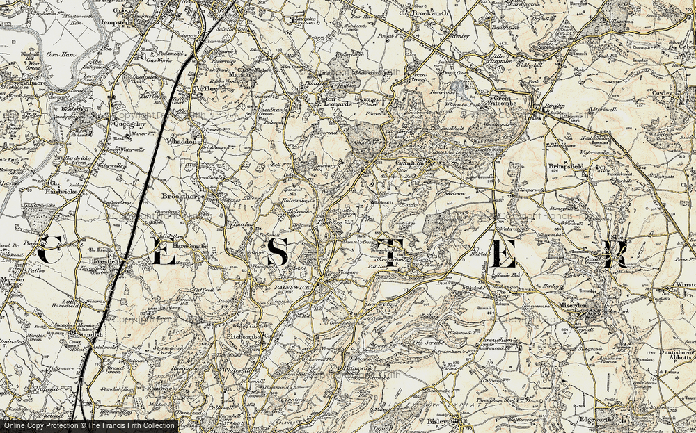 Old Map of Historic Map covering Tocknells Court in 1898-1900