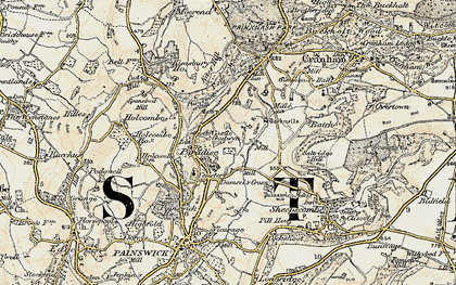 Old map of Tocknells Court in 1898-1900
