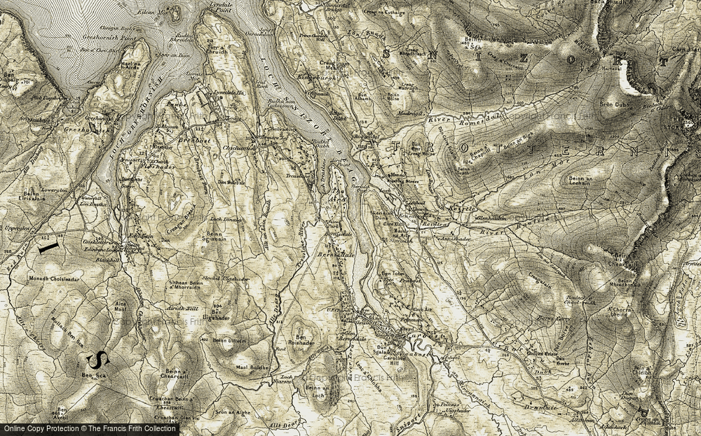 Old Map of Historic Map covering Allt an Loin Ruaidh in 1909