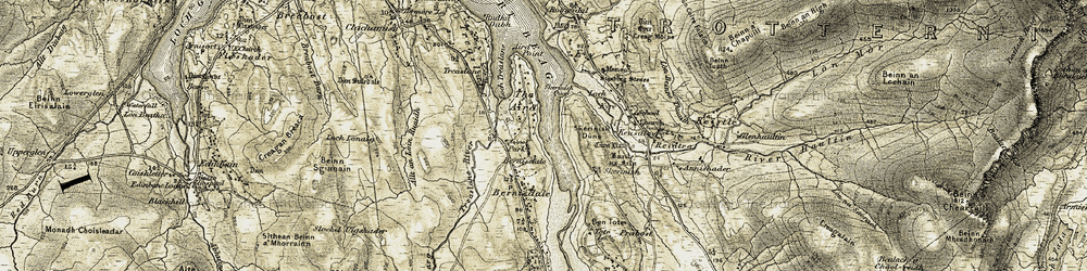 Old map of Allt an Loin Ruaidh in 1909