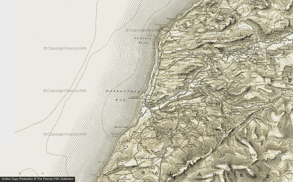 Old Map of Historic Map covering Ballantrae Bay in 1905