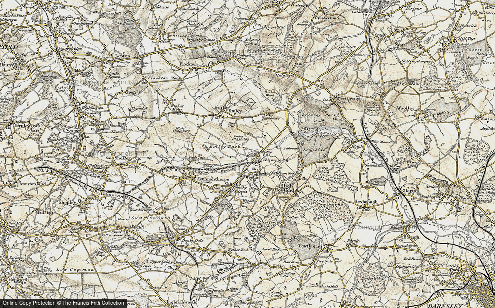 Old Map of Historic Map covering White Cross in 1903
