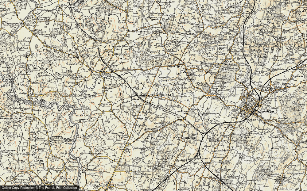 Old Map of Historic Map covering Woodstock in 1898