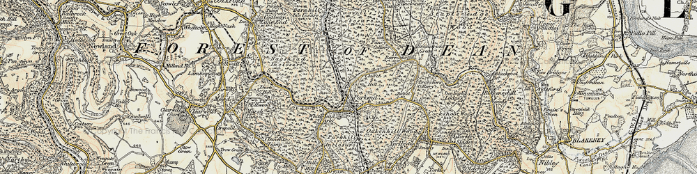 Old map of Parkend in 1899-1900