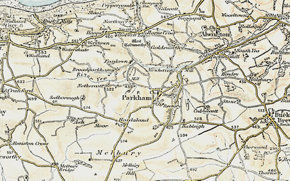 Old map of Parkham in 1900