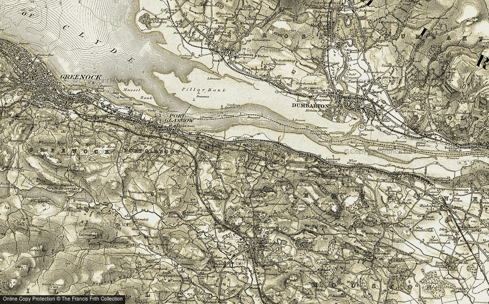 Old Map of Historic Map covering Auchendores Resr in 1905-1906