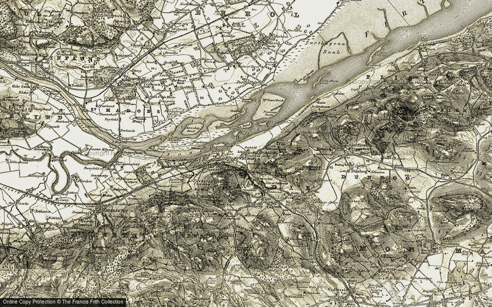 Old Map of Historic Map covering Lindores Hill in 1906-1908