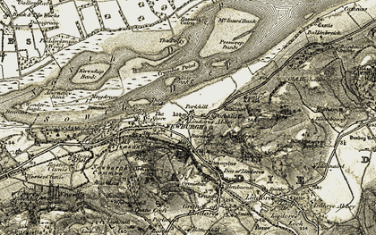 Old map of Lindores Hill in 1906-1908