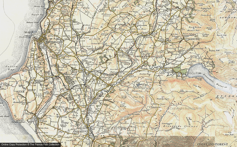 Old Map of Historic Map covering Lingla Beck in 1901-1904