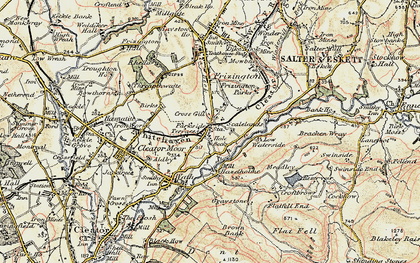 Old map of Lingla Beck in 1901-1904