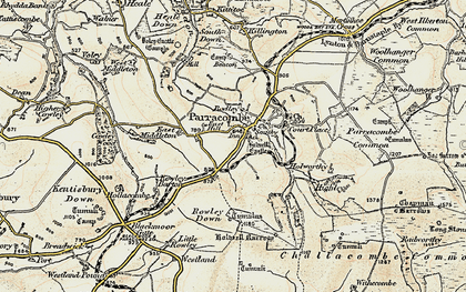Old map of Parracombe in 1900