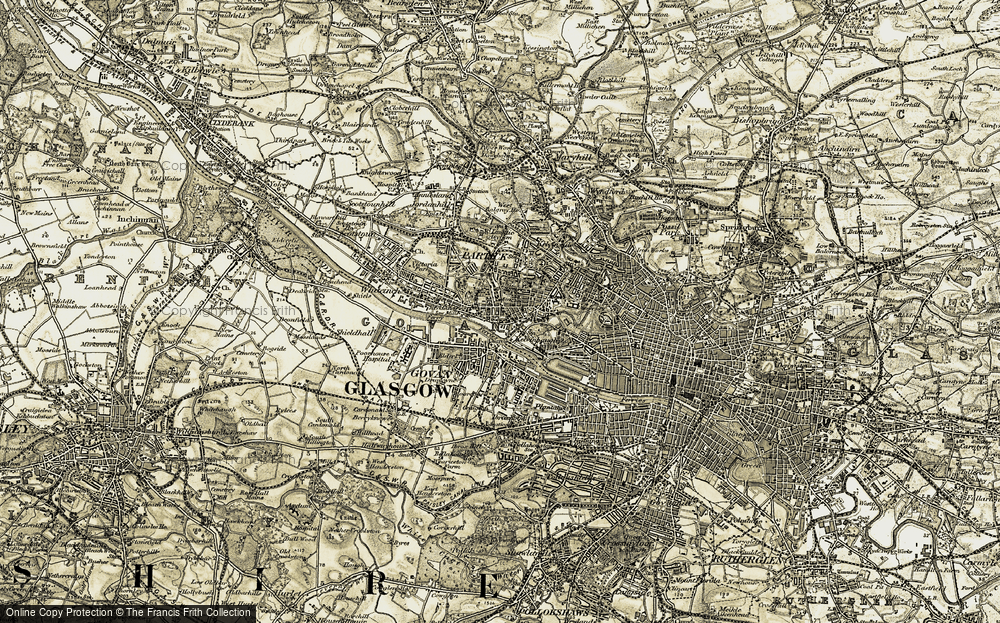 Old Map of Historic Map covering Linthouse in 1904-1905