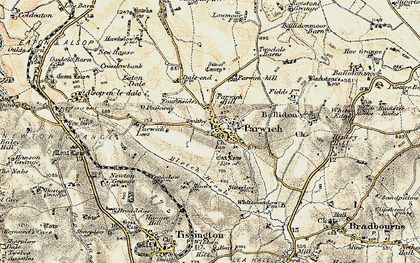 Old map of Parwich in 1902-1903