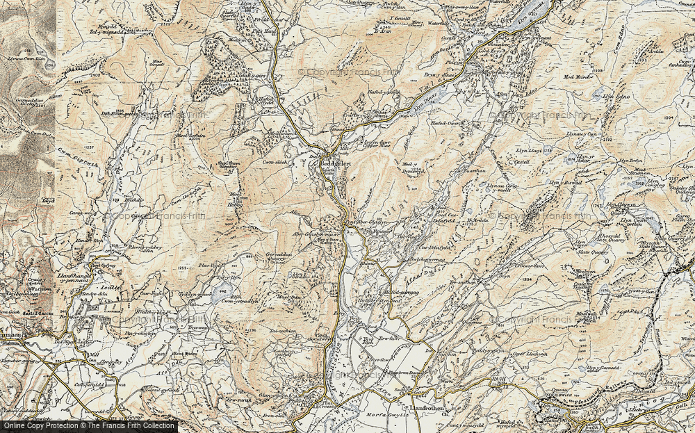 Old Map of Historic Map covering Aberglaslyn Hall in 1903