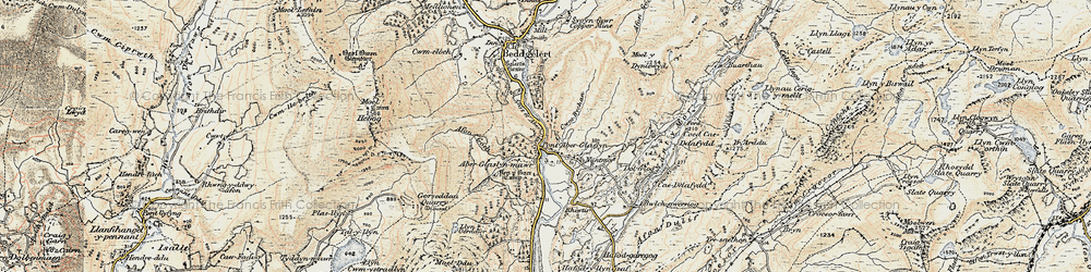 Old map of Pass of Aberglaslyn in 1903
