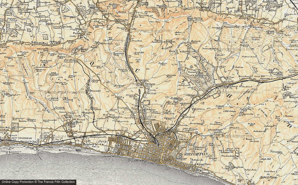Old Map of Patcham, 1898 in 1898
