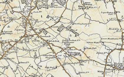Old map of Layer Brook in 1898-1899