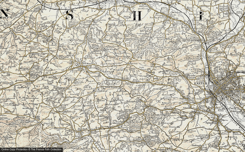 Old Map of Historic Map covering Woodlands in 1899-1900