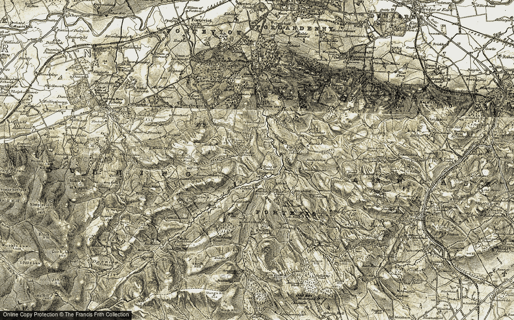 Old Map of Historic Map covering Auchengownie in 1906-1908