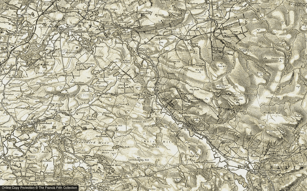 Old Map of Historic Map covering Backglen Burn in 1904-1905