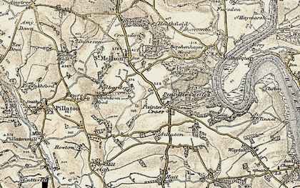Old map of Paynter's Cross in 1899-1900