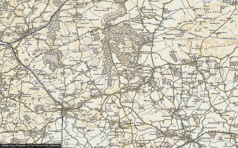 Old Map of Historic Map covering Ballands Castle in 1897-1899