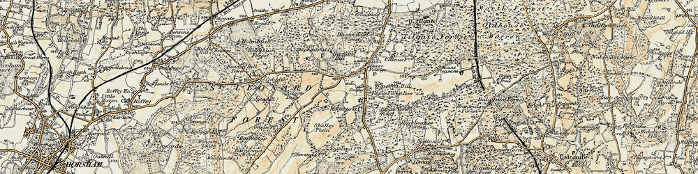 Old map of Pease Pottage in 1898