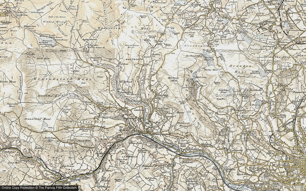 Old Map of Historic Map covering Lane Head in 1903