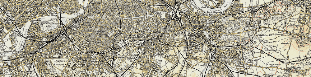 Old map of Peckham in 1897-1902