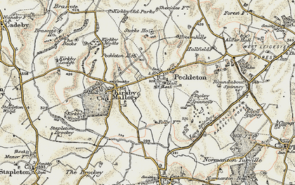 Old map of Tooley Spinneys in 1901-1903