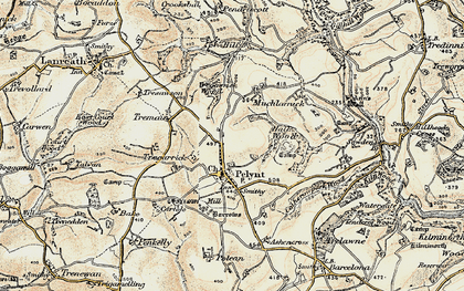 Old map of Pelynt in 1900