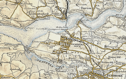 Old map of Pembroke Dock in 1901-1912
