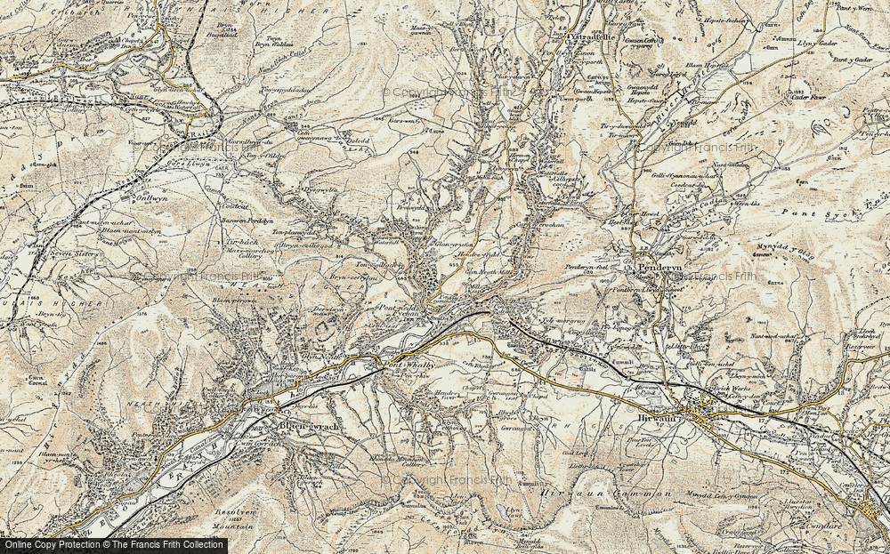 Old Map of Historic Map covering Afon Pyrddin in 1900