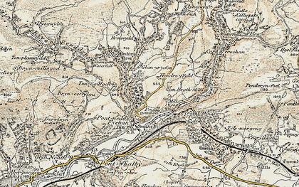 Old map of Afon Pyrddin in 1900