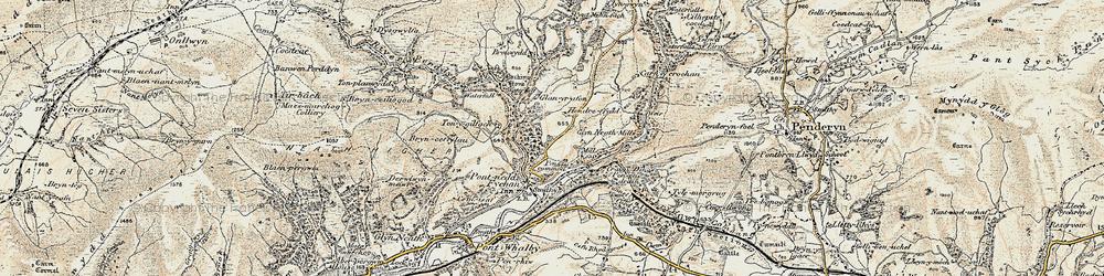 Old map of Afon Pyrddin in 1900
