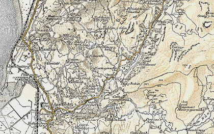 Old map of Afon Cwmnantcol in 1903