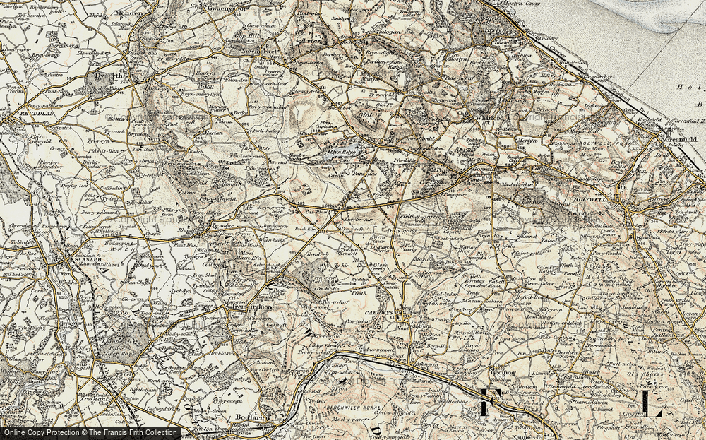 Old Map of Historic Map covering Rhos in 1902-1903