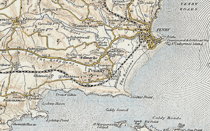 Old map of Penally in 1901
