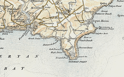 Old map of Penare in 1900
