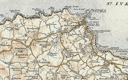 Old map of Penbeagle in 1900