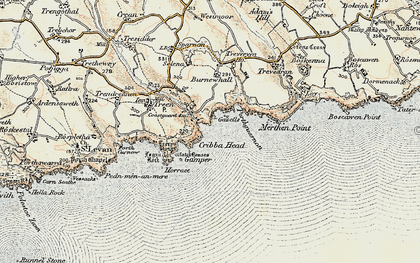 Old map of Penberth in 1900