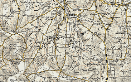 Old map of Tomenlawddog in 1901