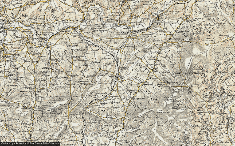 Old Map of Historic Map covering Afon Talog in 1901