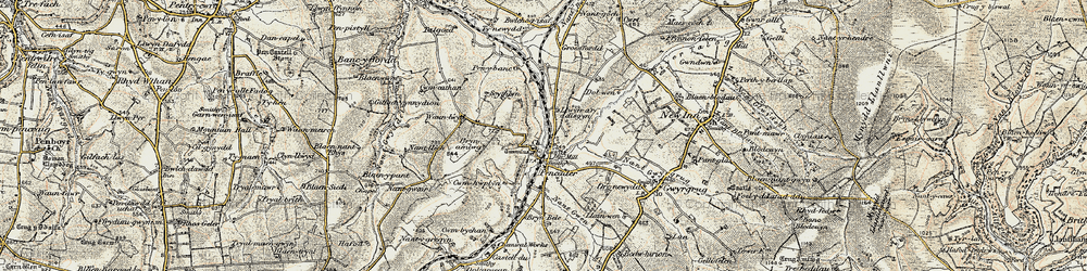 Old map of Afon Talog in 1901