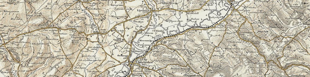 Old map of Abergrannell in 1900-1902