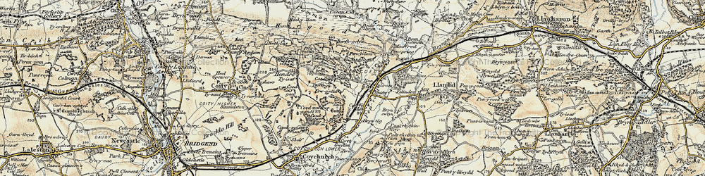 Old map of Pencoed in 1899-1900