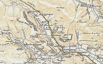 Old map of Afon Tanat in 1902-1903